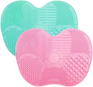 Makeup Brush Cleaning Mat, Easkep Silicone Cleaner Pad Portable Washing Tool Scrubber with Suction Cup Set of 2 Cosmetic (Green+Pink)