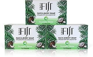 New Coco Fiji, Coconut Oil Infused Soap, Cucumber Melon 7oz (3pk)