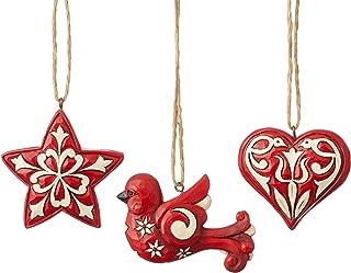 Enesco Jim Shore 6004233 Nordic Noel 3pc Mini Hanging Ornaments,Resin, Multi Colour, One Size
