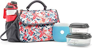 Fit & Fresh Lovelock Insulated Lunch Bag Kit for Women with BPA-Free Container Set and Shaker Bottle, Pink & Blue Petal Play