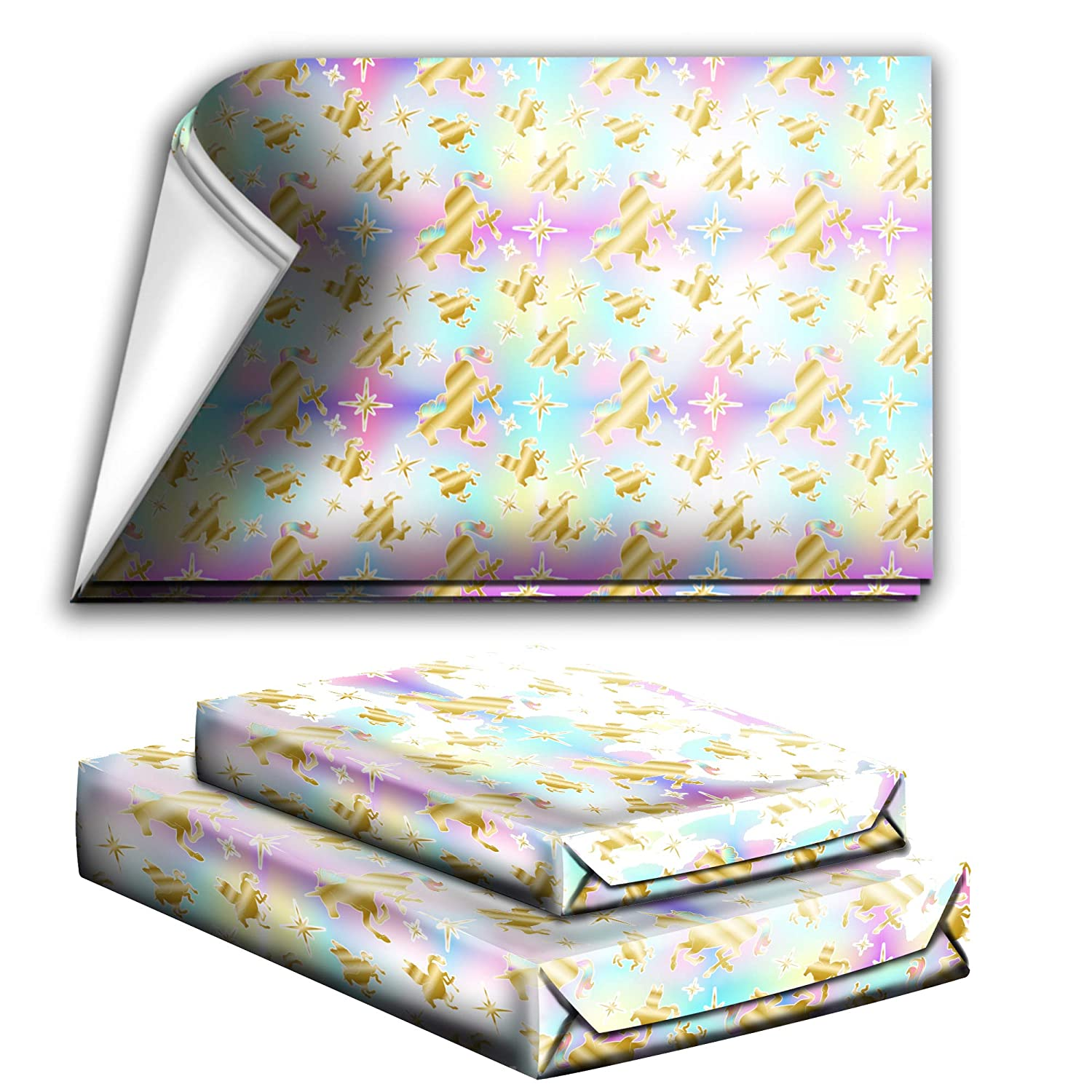 Gold Unicorn Pegasus Birthday Party Holiday Wrapping Paper Gift Wrap Premium Quality Paper