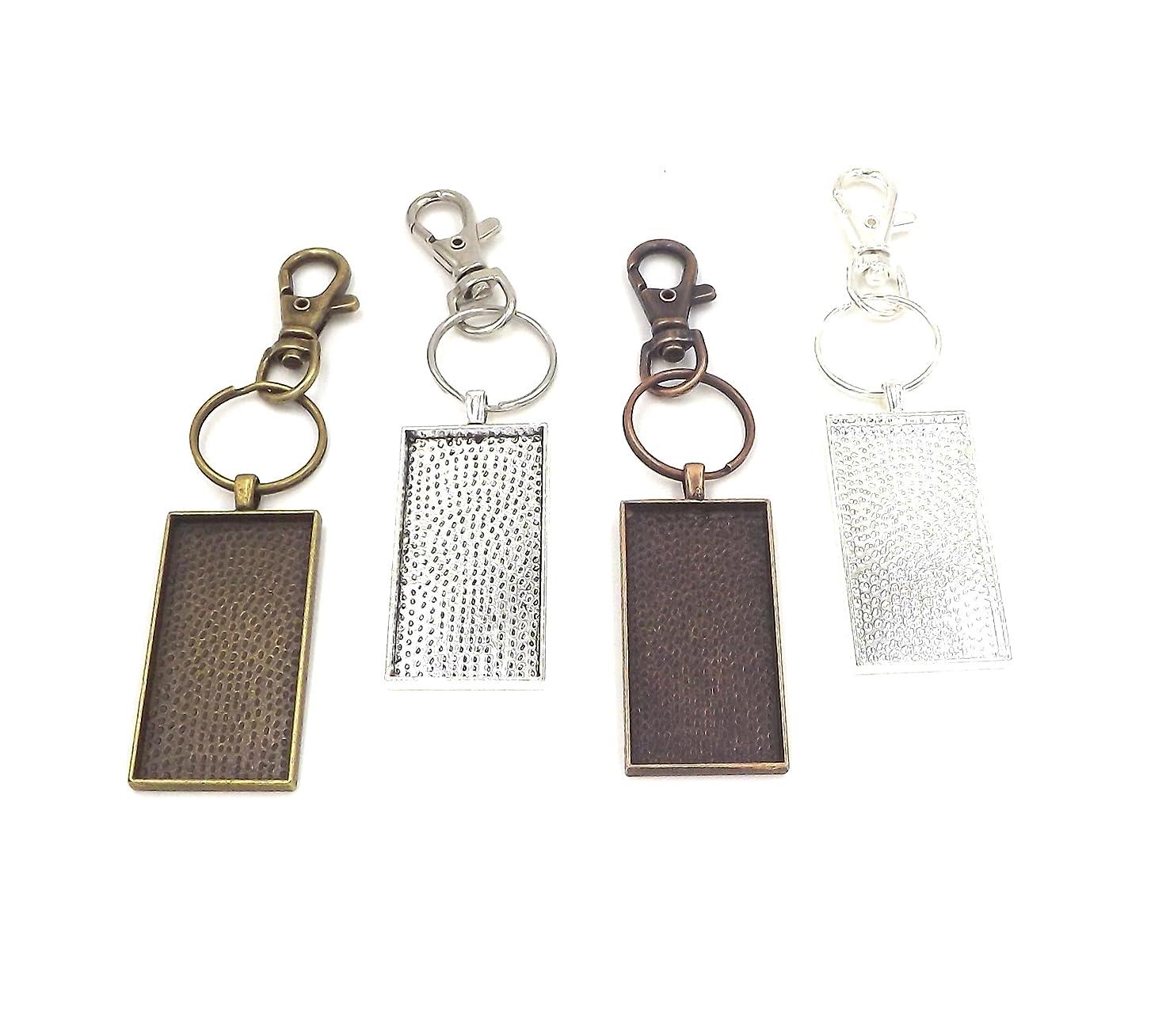 12 Deannassupplyshop 25X50mm rectangle Pendant Trays with key chain - Multicolor - 25X50mm- Pendant Blanks Cameo Bezel Settings Photo Jewelry - Custom Jewelry Making