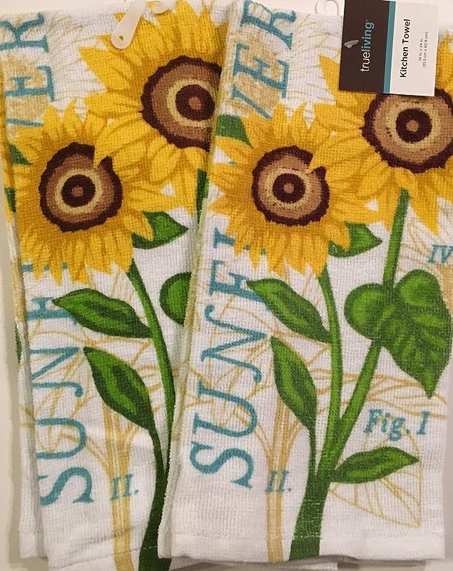 True Living Sunflower Dish Towels Set Of 2