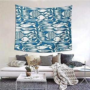 ZVEZVIZVEZVI Tapiz, tapices de Pared de Banco de Peces, Tela Decorativa de Interior para Colgar en la Pared para Sala de Estar, Dormitorio, 60 x 51 Pulgadas