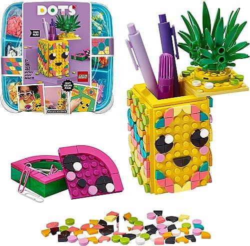 LEGO Dots 41906 Le Pot à Crayons Ananas, Activité Manuelle, Accessoires de Bureau, Loisirs Créatifs et Bricolage pour...