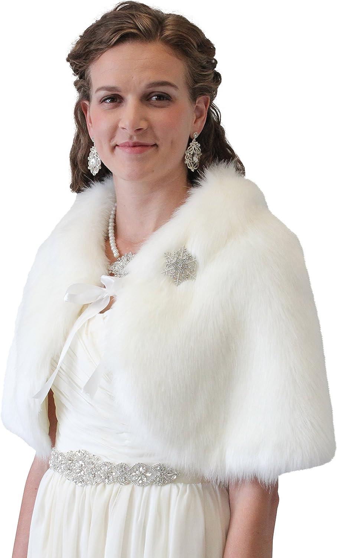 Bridal Fur Cape, Ivory Fur Wedding Cape, Fur Shrug