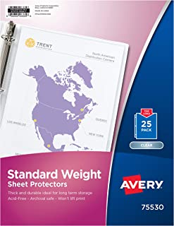 Avery Standard Weight Clear Sheet Protectors, 8.5