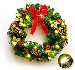 "BenefitUSA 24"" Christmas Wreath Pre-lit Decorated Pine Artificial Wreath with 20 LED Lights"