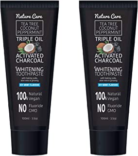 Naturecare 100ml Organic Coconut Peppermint Tea Tree Oil Activated Charcoal Toothpaste Whitening Gel | Vegan, No Fluoride, No GMO, No SLS (Double - Fast Delivery)