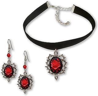 Gothic Red Rose Cameo Black Velvet Choker and Dangle Earrings Jewelry Set