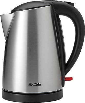 Aroma AWK-1400SB 1.7L Negro, Acero inoxidable - Tetera eléctrica (1.7 L, Negro, Acero inoxidable, Pedal)