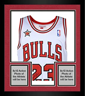 Framed Michael Jordan Chicago Bulls Autographed White Mitchell   Ness Jersey  with 1998 All Star Patch 12fd7f94c