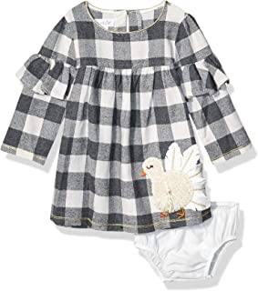 Mud Pie Baby Girls Thanksgiving Turkey Plaid Long Sleeve Casual Dress