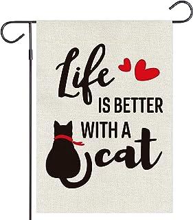 Haustalk Life is Better with a Cat Garden Flag Vertical Double Love Heart Burlap Yard Spring Summer Fall Outdoor Decor (12...