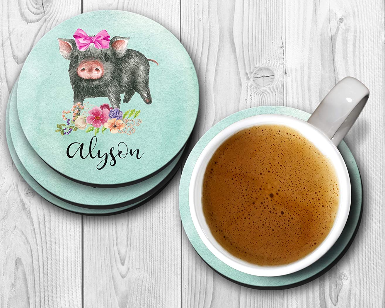Cute Pig With Pink Bow Personalized Coasters - Set of 4