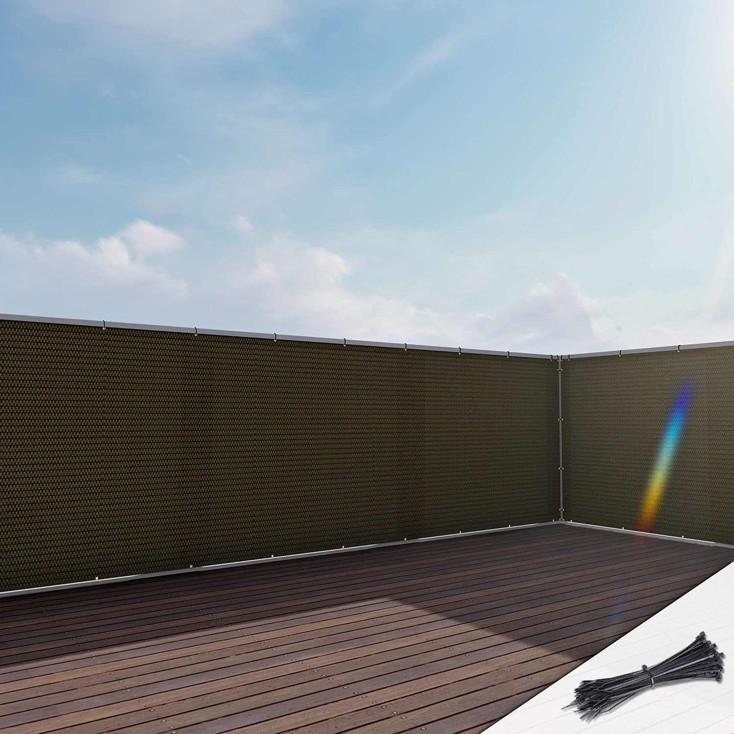 EK Sunrise3' x 21' Brown Balcony UV Fence Award-winning store Cover Privacy Fixed price for sale Screen