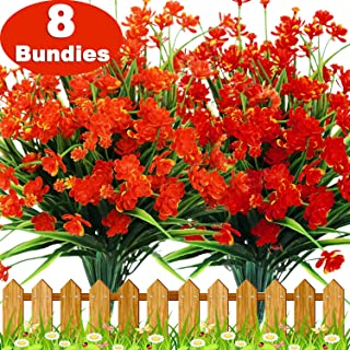 TURNMEON Artificial Fake Flowers, 8 Bundles Faux Outdoor UV Resistant Daffodils Greenery Shrubs Plants Indoor Outside Hanging Planter Wedding Garden Decor