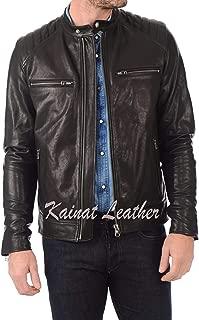 Kainat Mens Leather Jackets Motorcycle Bomber Biker Genuine Lambskin 365