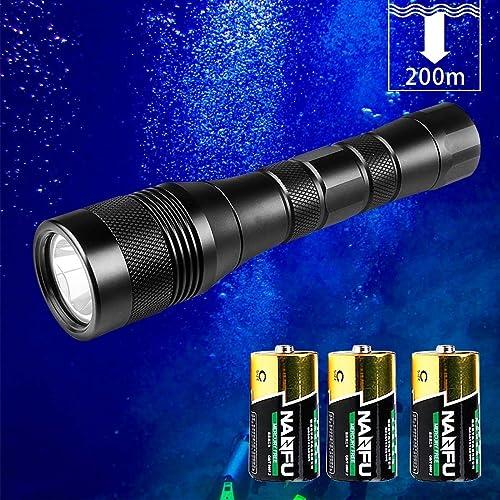 Odepro DIV01 1050luPour des hommes lampe de poche torche sous-marine 200m avec interrupteur rougeatif pour la plongée