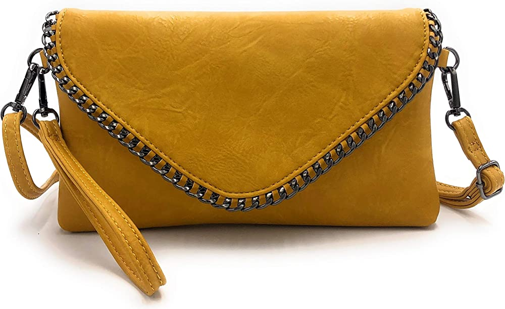 Eliox, pochette per donna, elegante,  con catena e tracolla, in morbida pelle sintetica, gialla sreocib