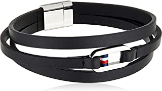 Tommy Hilfiger Men Stainless Steel Strand Bracelet 2790028,Black,One Size