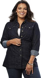 Women's Plus Size Long Jean Jacket