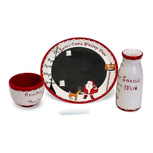 Child to Cherish Santas Message Christmas Plate Set | Cookies for Santa Plate, Santa Milk