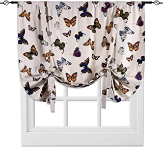 KEQIAOSUOCAI 100 Percent Cotton Tie Up Shade Curtains for Windows Rod Pocket Butterfly Printed Tie Up Window Shade for Home Kitchen 1 Panel 52 by 63 Inches Long