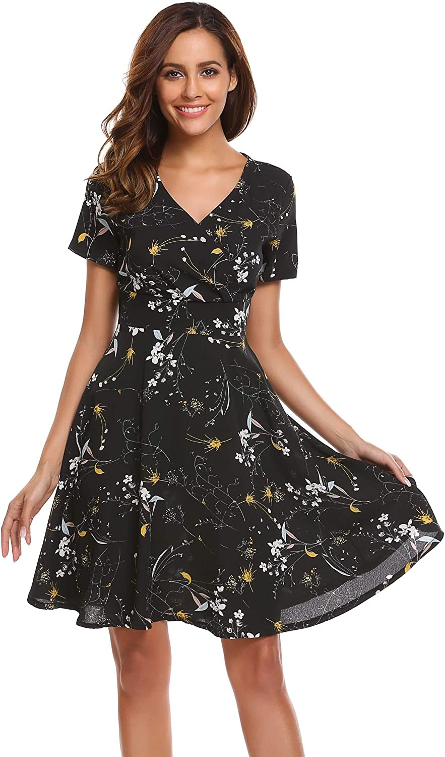 BEAUTYTALK Women's Cute V Neck Short Sleeve Floral Printed Casual A Line Flare Retro Wrap Dress