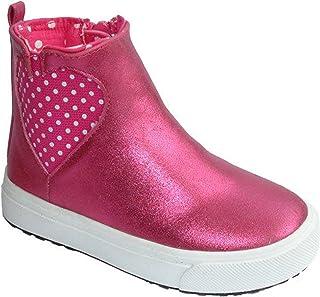 Just Buds - Botas planas con cremallera, diseño de corazones, color rosa