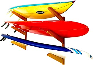 StoreYourBoard Timber Surfboard Wall Rack, Holds 3 Surfboards, Wood Home Storage Mount System