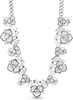 Steve Madden 21 Inch Silver Tone Rhinestone Floral Collar Statement Necklace For Women