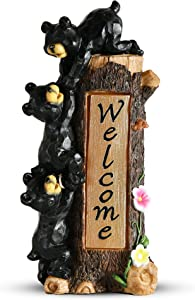 Bear Figurines Spring Welcome Sign Garden Gnomes Statue with Solar LED Lights, Outdoor Decorations for Yard, Patio, Garden Ornaments