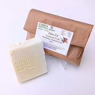 Caria Natural Soap Pure Traditional Castile Olive Oil Soap Bars. Fragrance Free. nature's moisturiser. Face, body hair wash. Handmade in Turkey (1 bar)