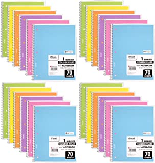 Mead 1-Subject College Ruled Spiral Bound Notebooks, Pastel Color Cute school Notebooks, 70 Pages 24 Pack