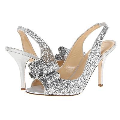 Kate Spade New York Charm Heel (Silver Glitter/Silver Liquid Suede) High Heels