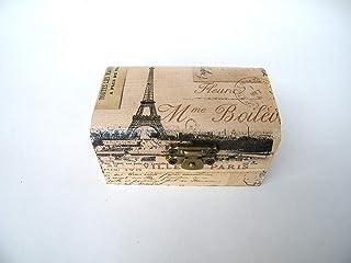 Cajita de madera Joyero vintage Paris post card, elegante Caja de almacenamiento, anillos de boda, compromiso, Hecha a man...