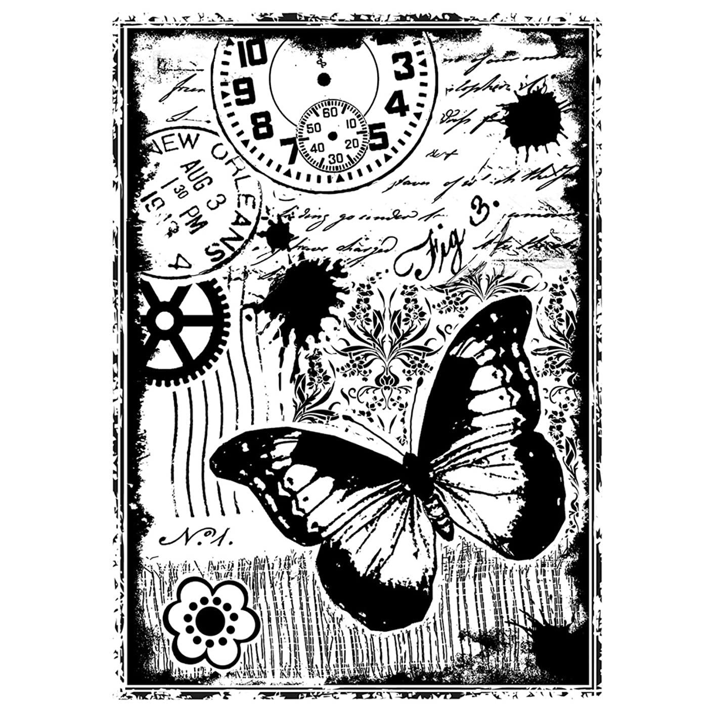 Crafty Individuals CI-296 Unmounted Rubber Stamp, Steampunk Butterfly