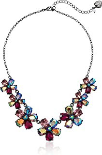 Betsey Johnson (GBG) Fairy Forest Stone Flower Frontal Necklace, Multi, One Size