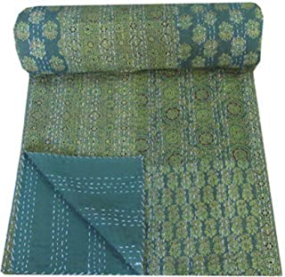 Green Handmade Sari Patchwork Kantha Quilt Hand Block Print Ajrakh Kantha Blanket Indian Cotton Kantha Bedspread Hand Stitch Kantha Bed Cover Patchwork Beach Throw