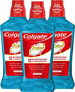 Colgate Total Alcohol Free Mouthwash for Bad Breath, Peppermint - 1L, 33.8 fluid ounce (3 Pack)