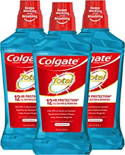 Colgate Total Pro-Shield Alcohol Free Mouthwash for Bad Breath, Peppermint - 1L, 33.8 fluid ounce (3 Pack)