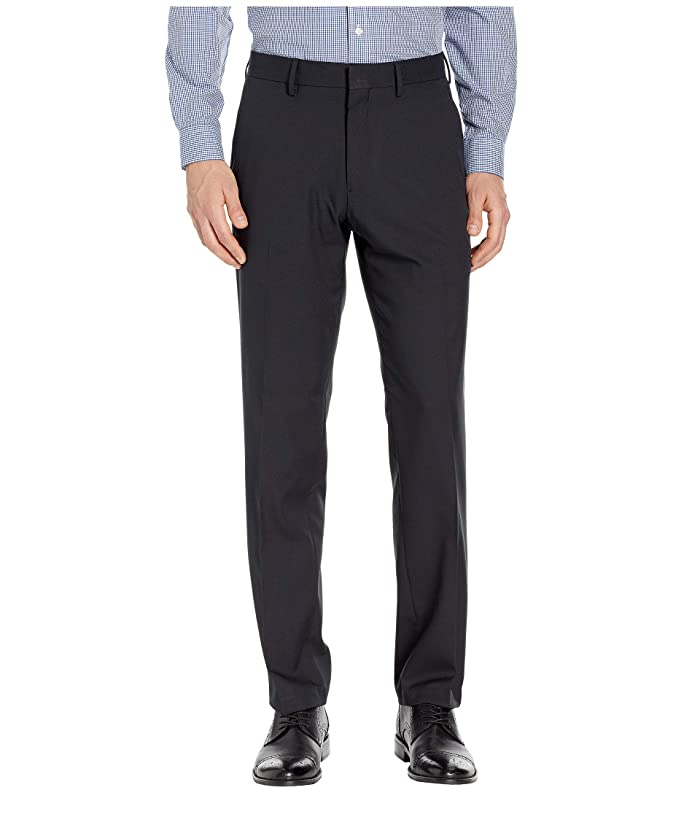 Kenneth Cole Reaction  Solid Stretch Gab Modern Fit Flat Front Dress Pants (Black) Mens Casual Pants