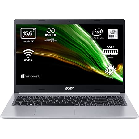 "Acer Aspire 5 A515-55 - Ordenador Portátil 15.6"" Full HD, Laptop (Intel Core i5-1035G1, 16GB RAM, 1TB SSD, UMA Graphics, Windows 10 Home), PC Portátil Color Plata - Teclado QWERTY Español"
