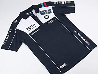 tyco 【BMW Motorrad】OFFICIAL TEAM MERCHANDISE Polo-shirts ポロシャツ NEW model White&Navy 白&紺 (L)