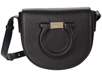 Salvatore Ferragamo City Grainy Flap Crossbody (Nero) Handbags