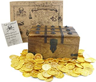 Wooden Pirate Treasure Chest 9 x 7 x 5 with 144 Plastic Coins Authentic Paper Pirate Commission Real World Brown Nautical Paper Map by Well Pack Box