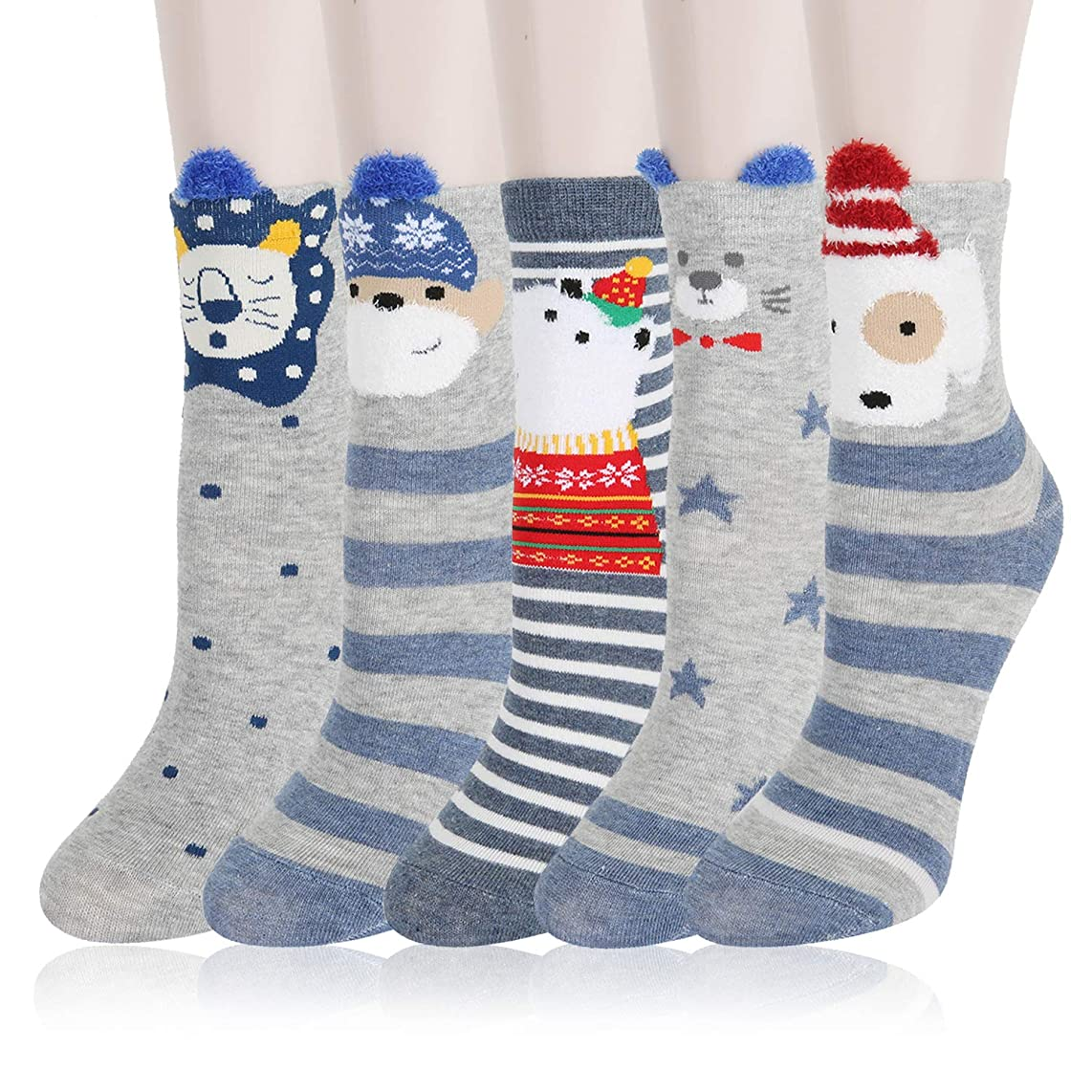 KACOLOR Cotton Cute Funny Animal Crew Ankle Socks, 5 Pairs, Women and Men, Breathable, Soft, Warm