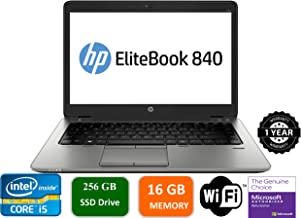 HP EliteBook 840 G2 Notebook PC - Intel Core i5-5200U 2.1GHz 16GB 256GB SSD Webcam Windows 10 Professional (Renewed)