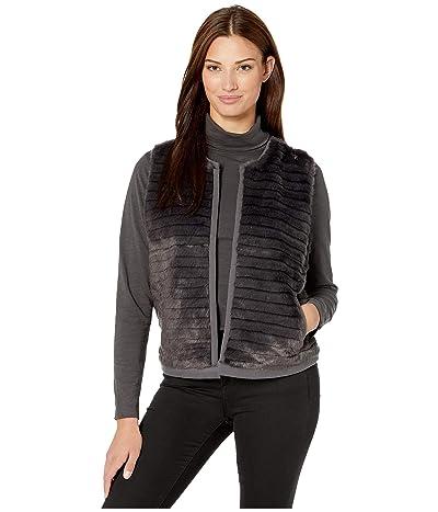 Tribal Faux Fur Vest w/ Knit Back (Steel Grey) Women